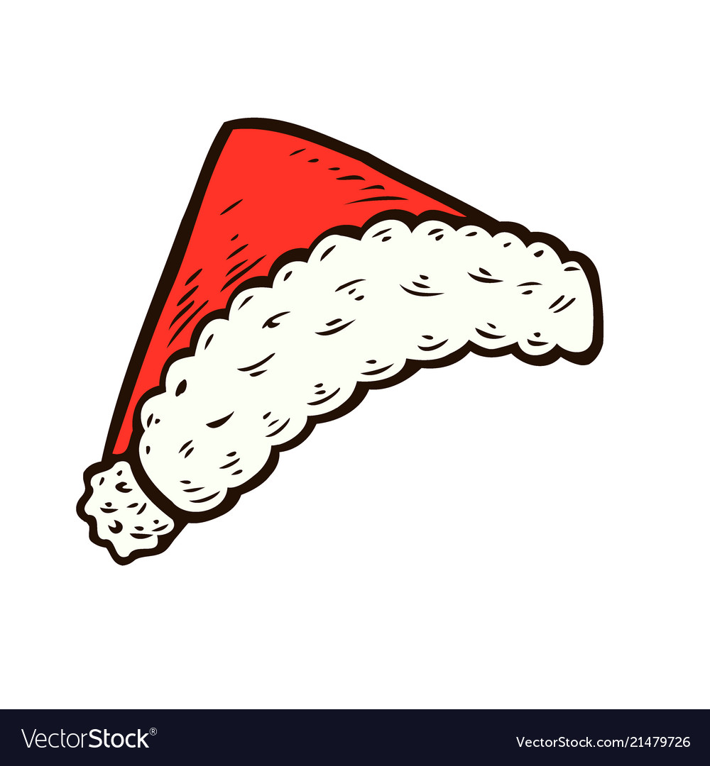 Santa hat drawn. Hand