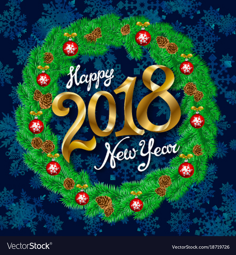 happy new year 2018 vintage background with vector image