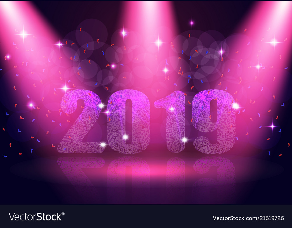 Happy new year 2019 text background in the show