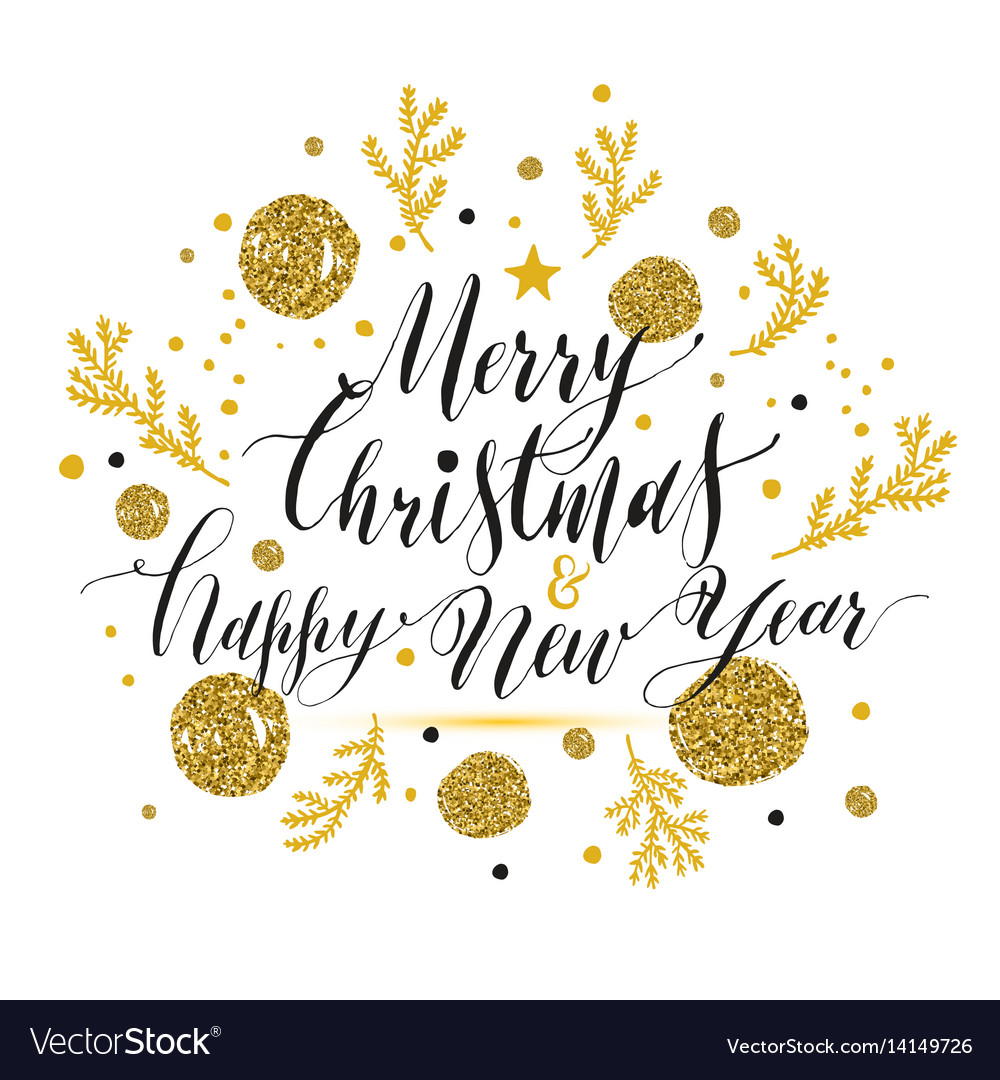 New year lettering hand drawn christmas greeting