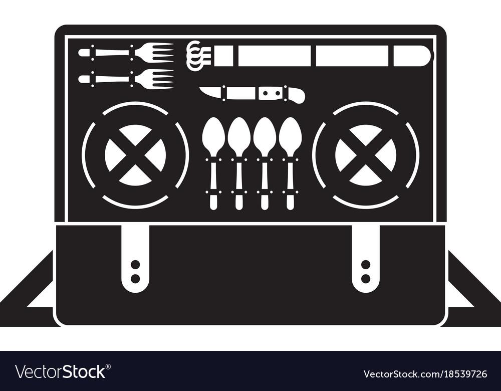 Portable picnic bag hamper icon