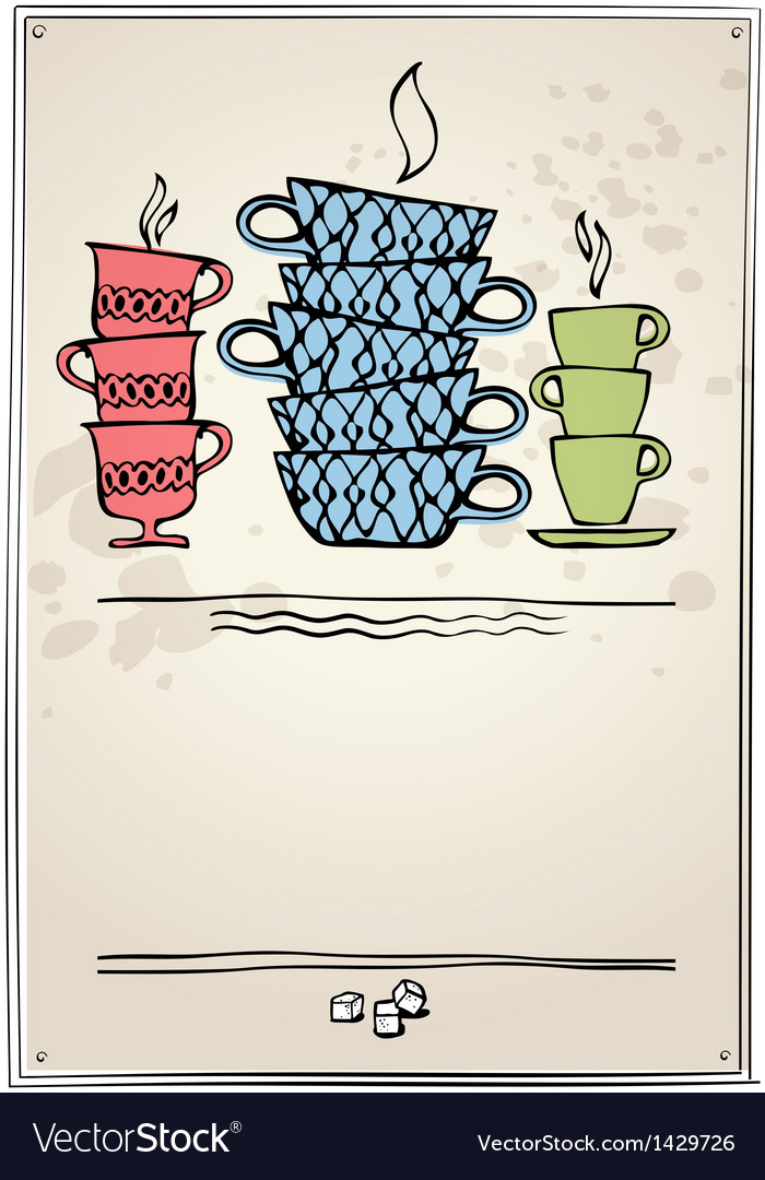 Retro frame with cup tea