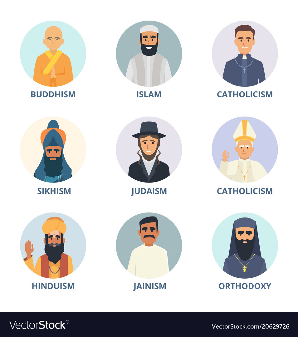 Round avatars set with pictures of religion