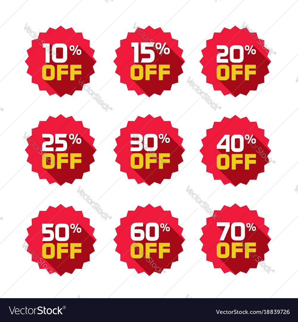 sale tags set badges template 10 off 15 vector image