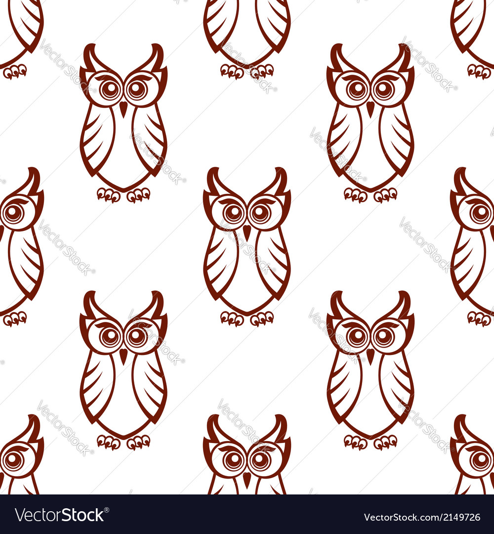 Seamless pattern of a wise old owl