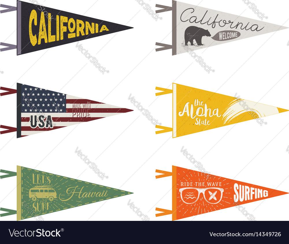Set adventure pennants pennant travel flags