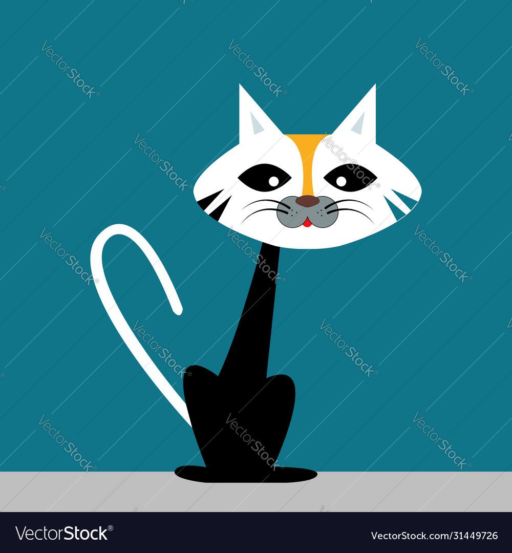 Ugly Cat On White Background Royalty Free Vector Image