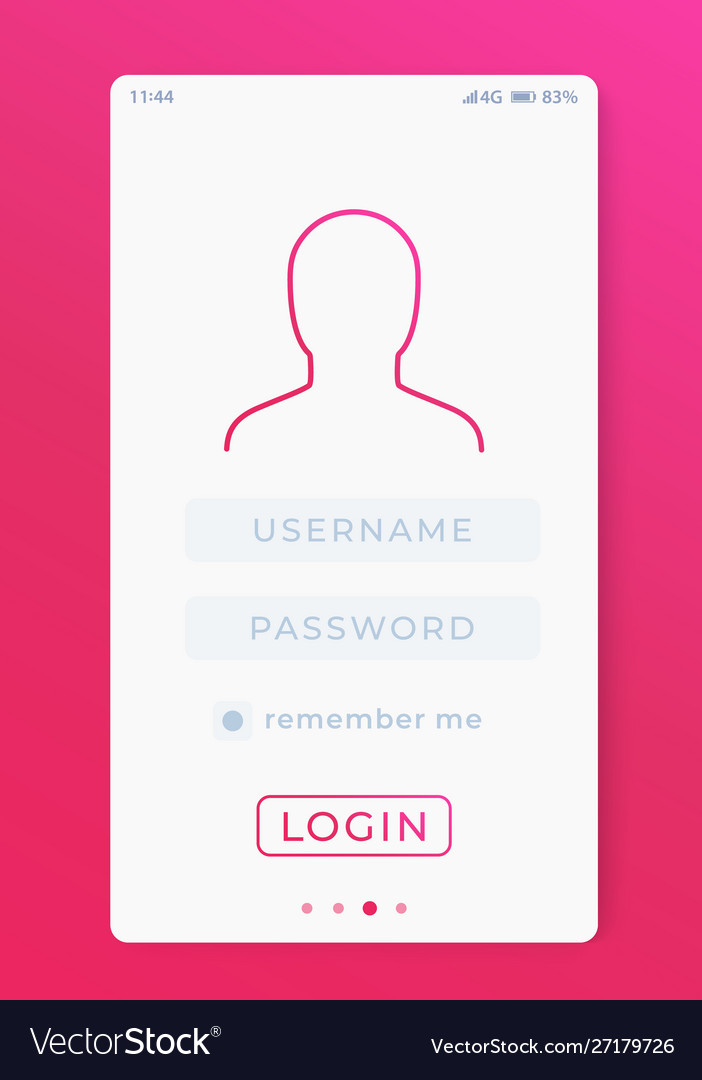 User login mobile interface template