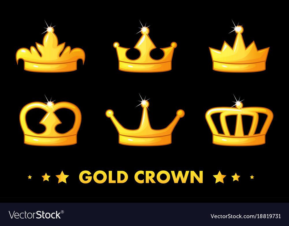 Cartoon golden crown icons