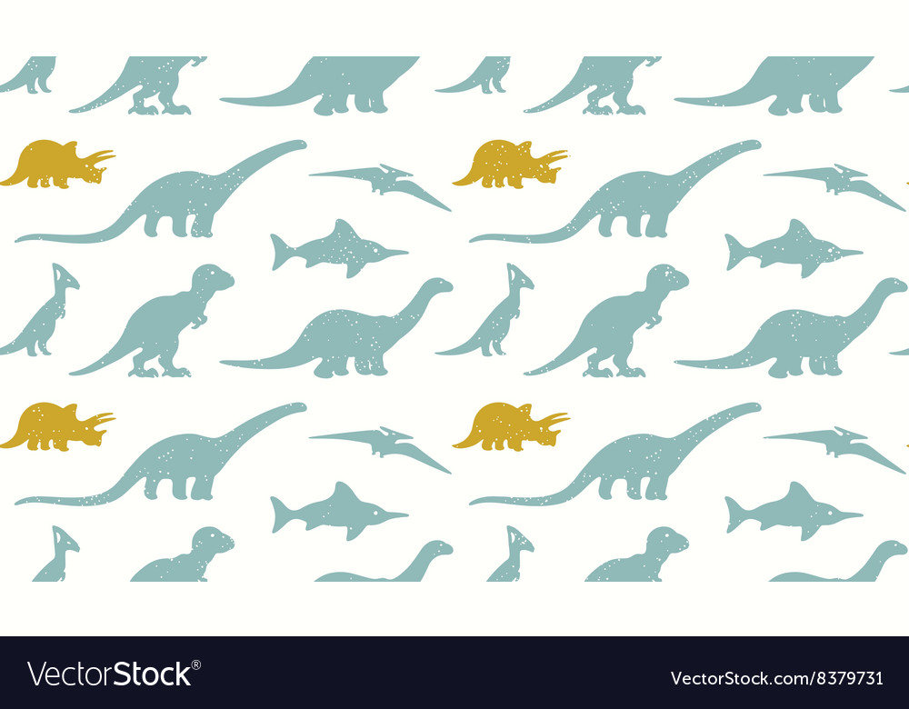 Dinosaurs silhouettes on white background