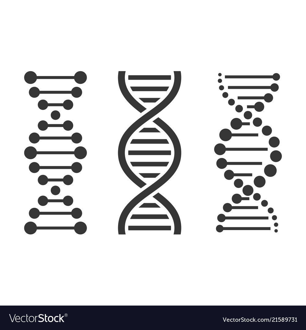 Dna icons set on white background