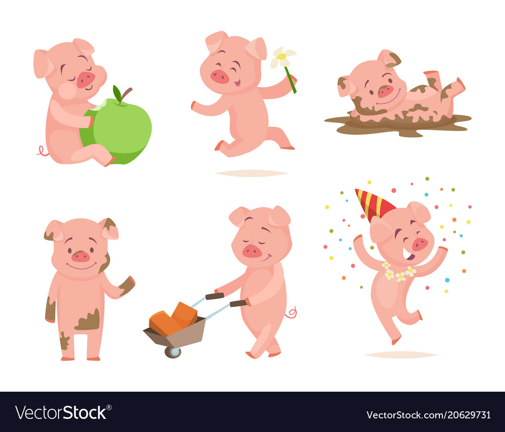 Funny pink pigs playing games