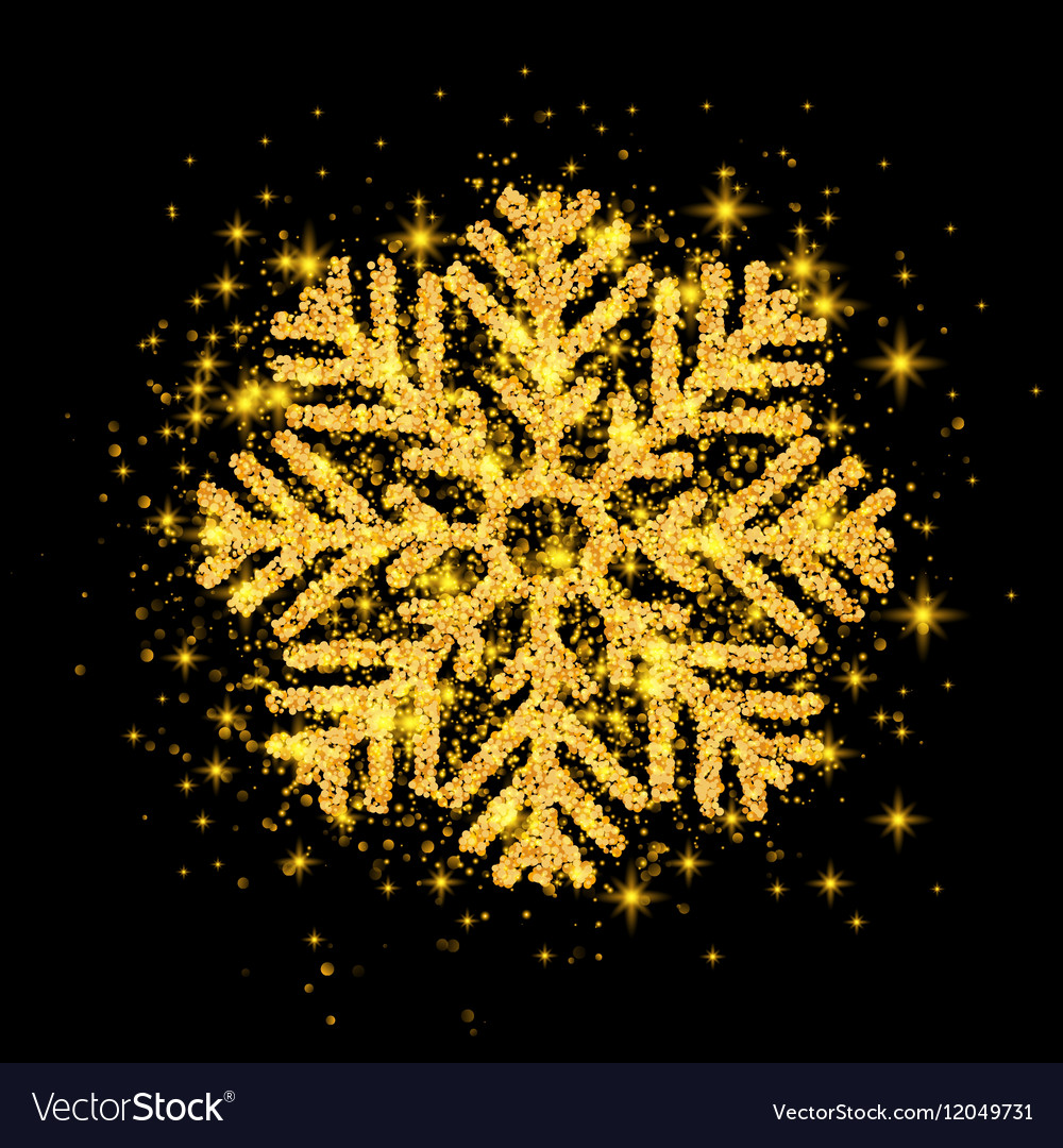 Shine Golden Snowflake covered with Glitter on