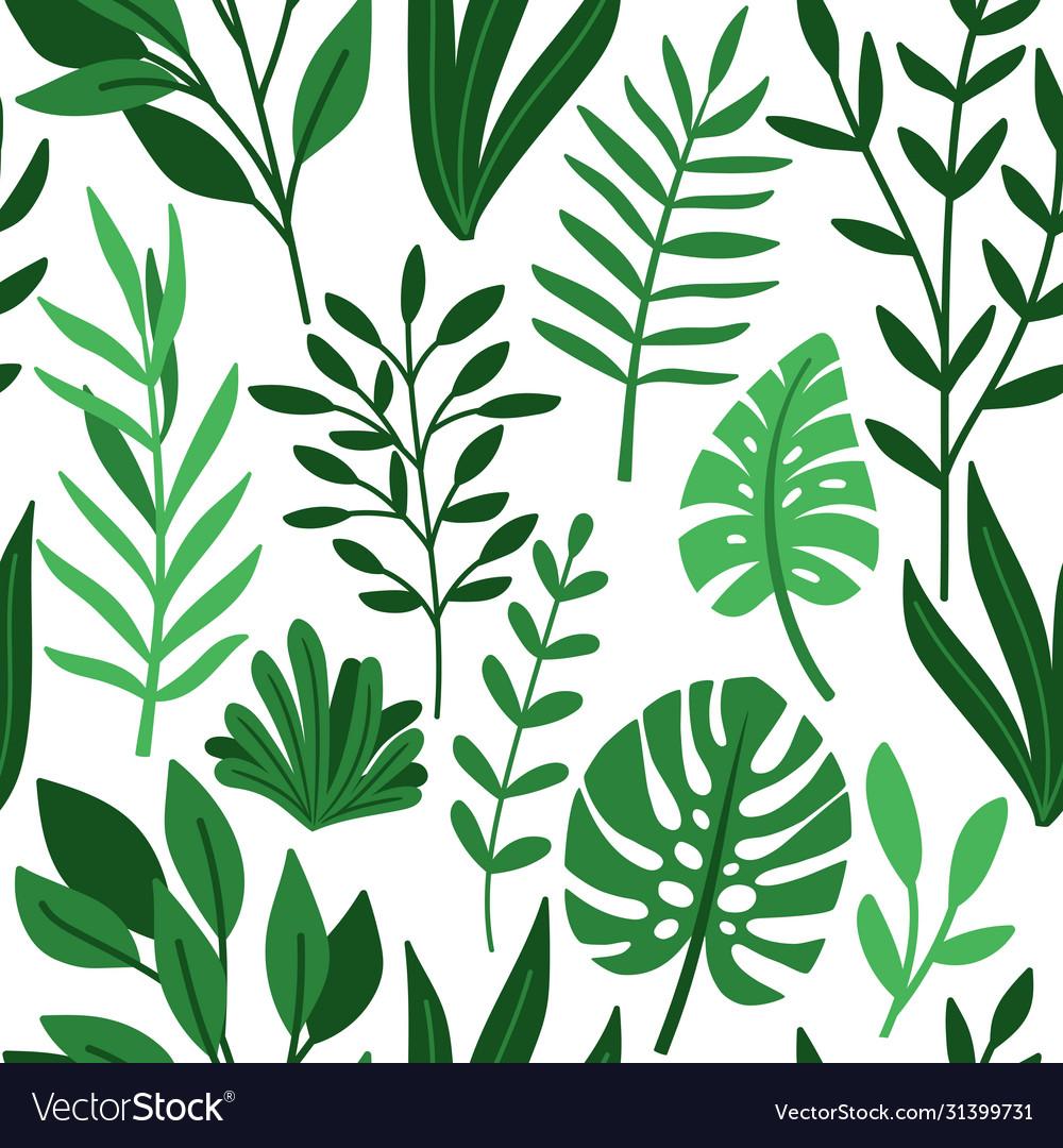 Tropic palm green leaves pattern