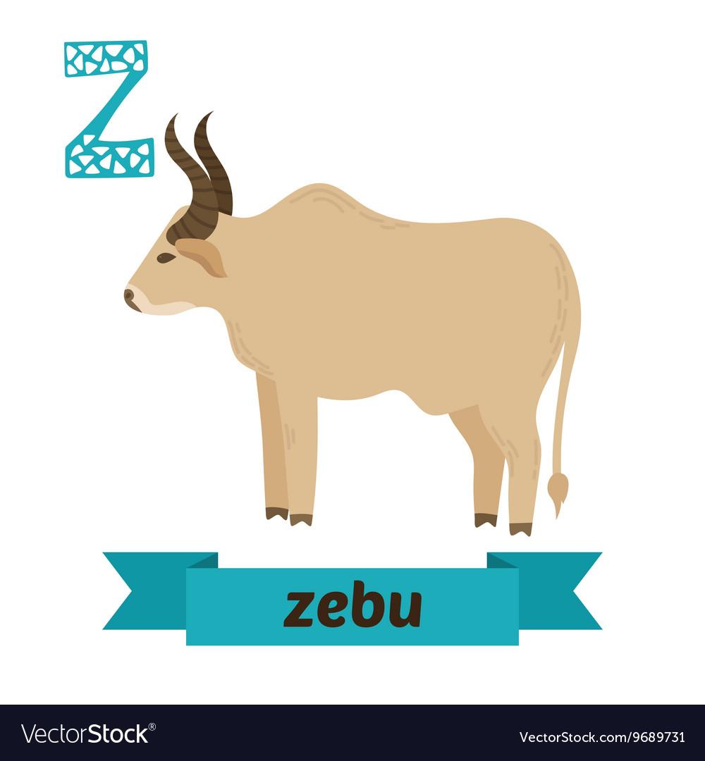 Zebu Z letter Cute children animal alphabet in