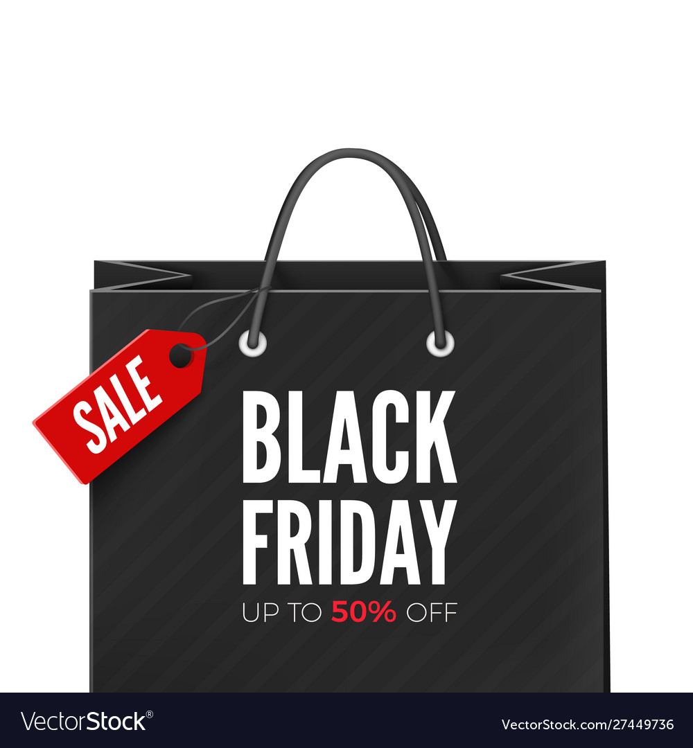 Black friday offer bag with red tag sale and text
