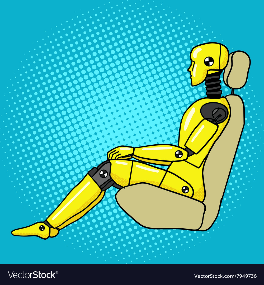 Crash test dummy pop art style vector image