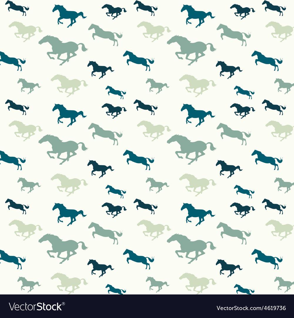 Horses blue pattern vector image