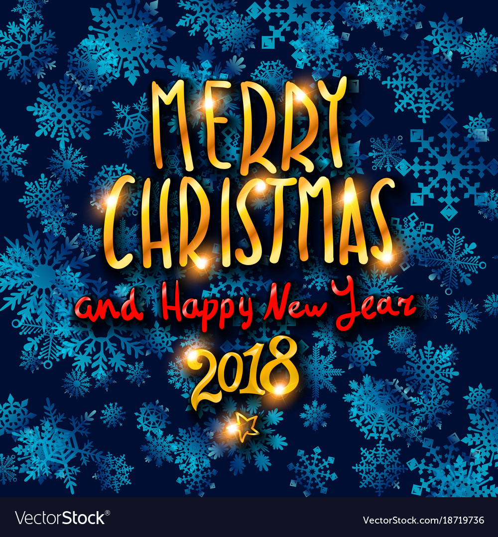 Merry christmas and happy new year 2018 gold Vector Image