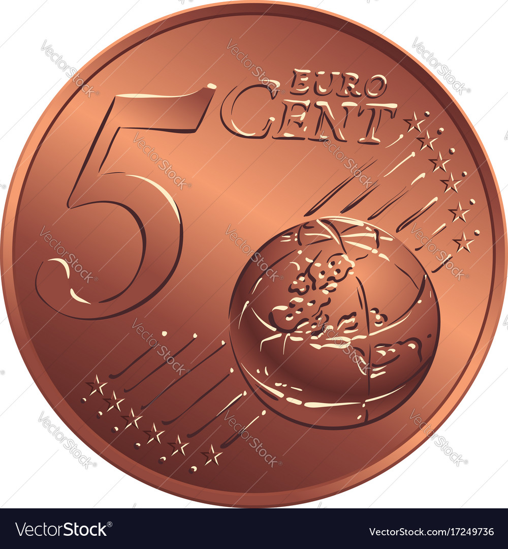 Money bronze coin five euro cent