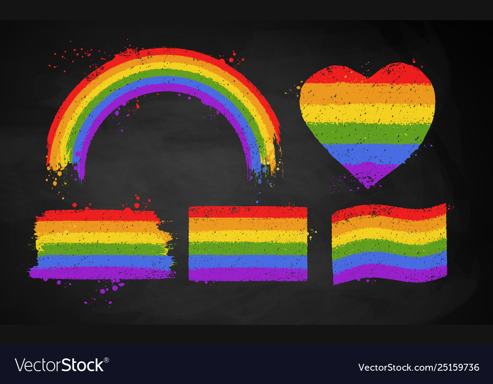 Set chalked rainbow lgbt flag color banners