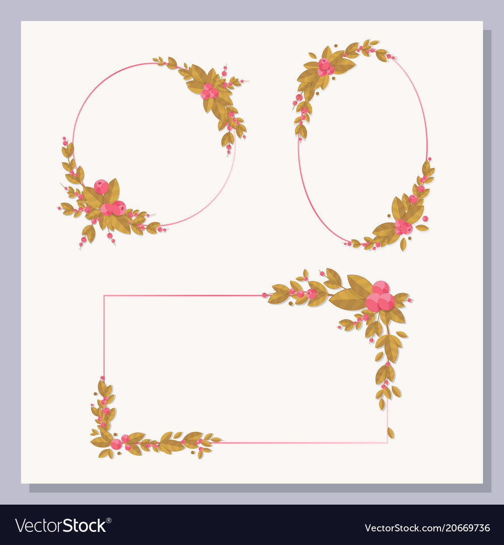 Set decorative frames with floral elements vector