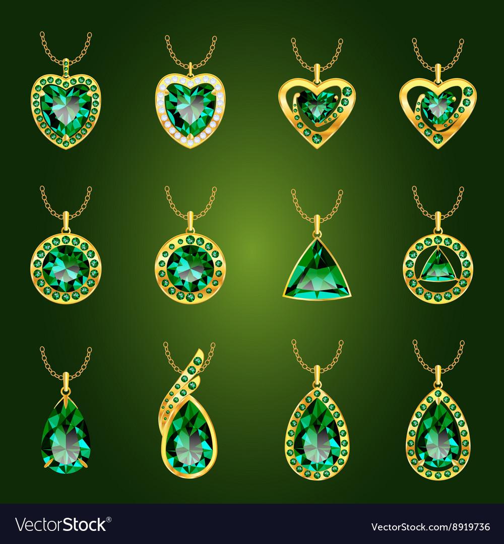 Set of green emerald pendants