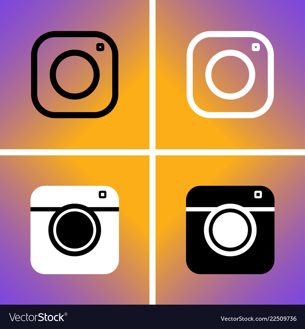 Set web icon of modern lineart and hipster camera