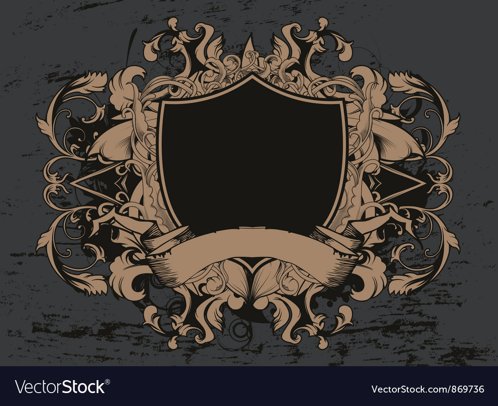 Shield with floral and grunge vector image