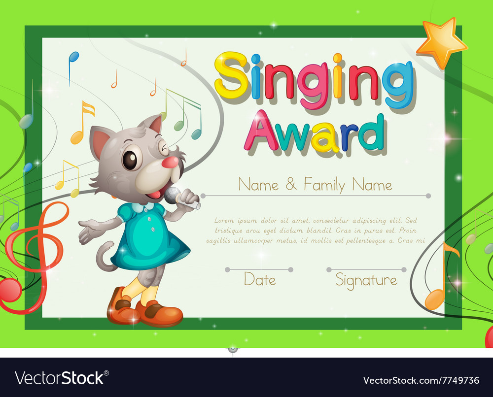 Singing award certificate template vector image