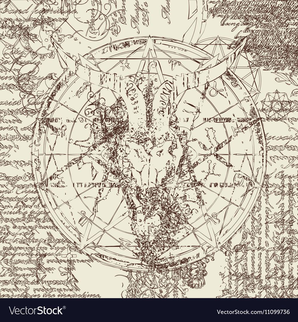 Skull of goat and pentagram vector image