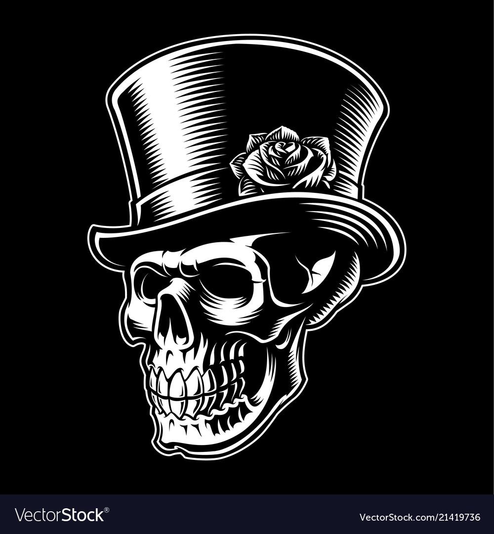 Vintage skull with hat