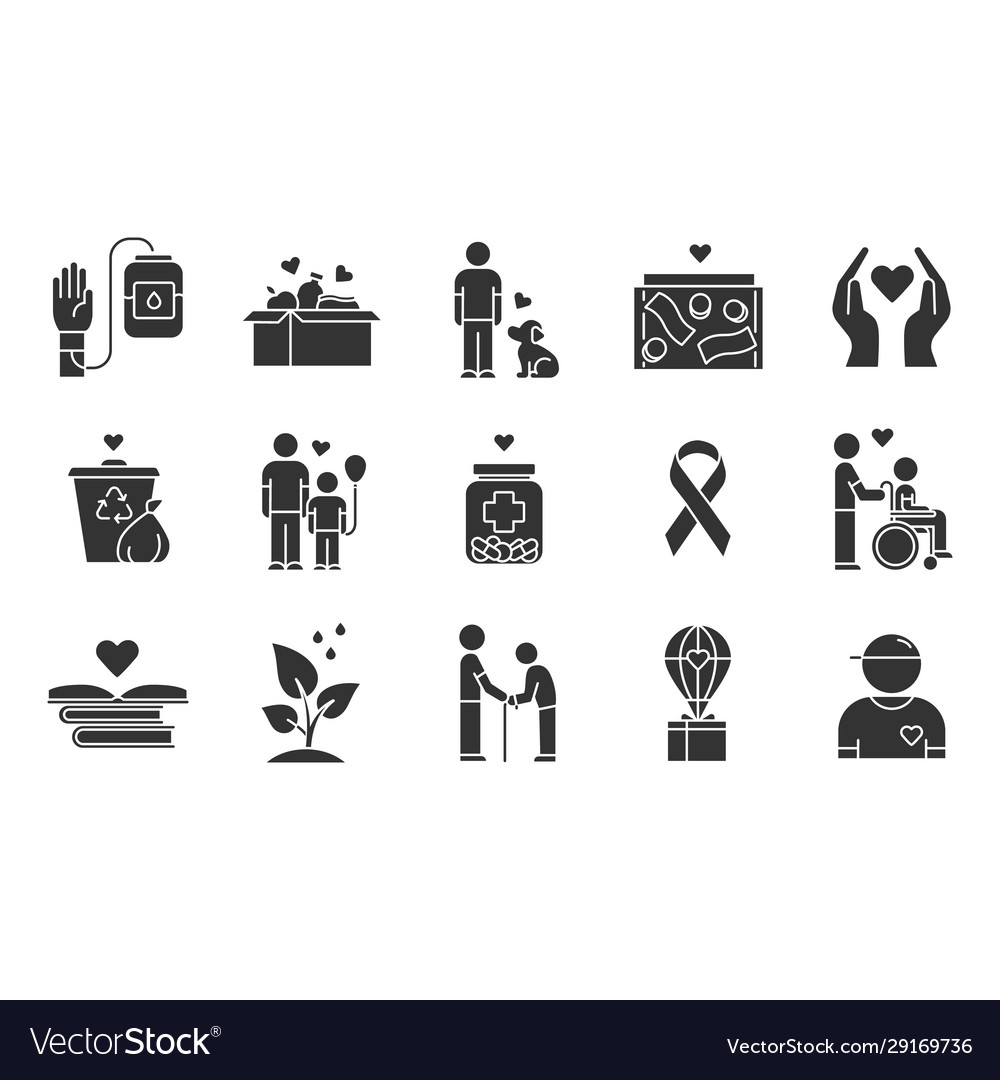 Volunteering glyph icons set reliance