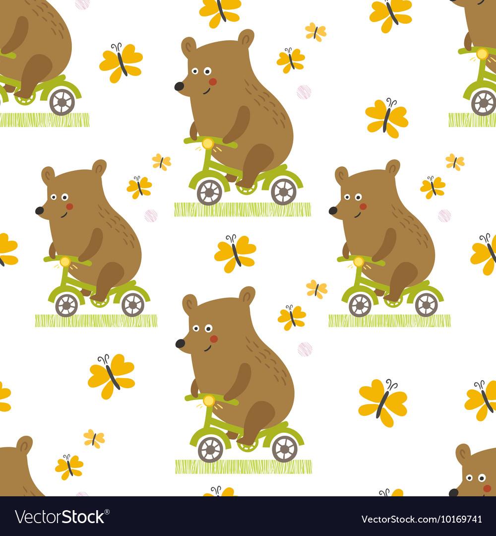 Bear to ride a bike seamless pattern