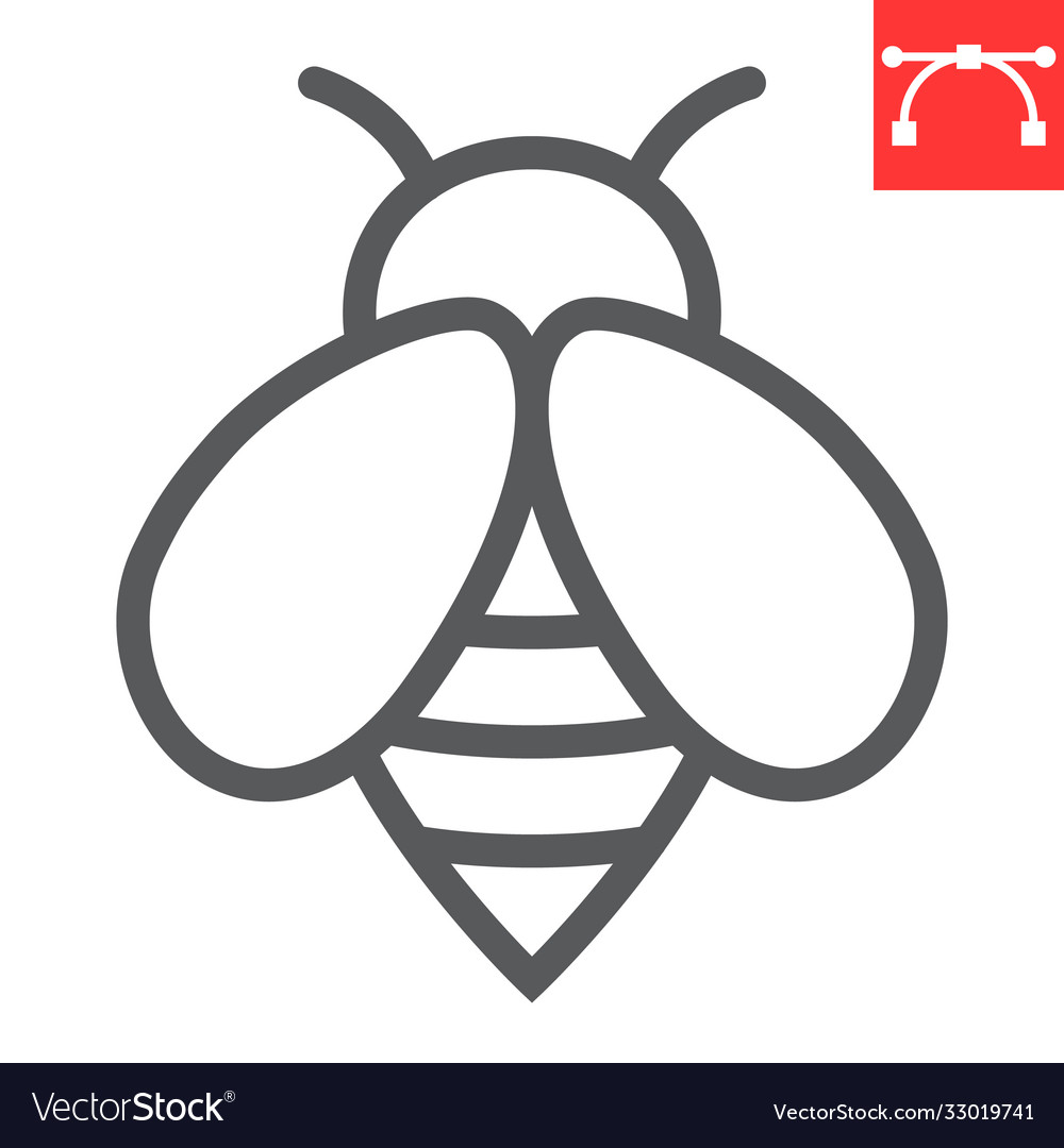 Bee line icon insect and honey sign