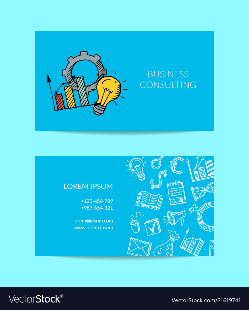 Business doodle icons business card royalty free vector business doodle icons business card vector image reheart Images