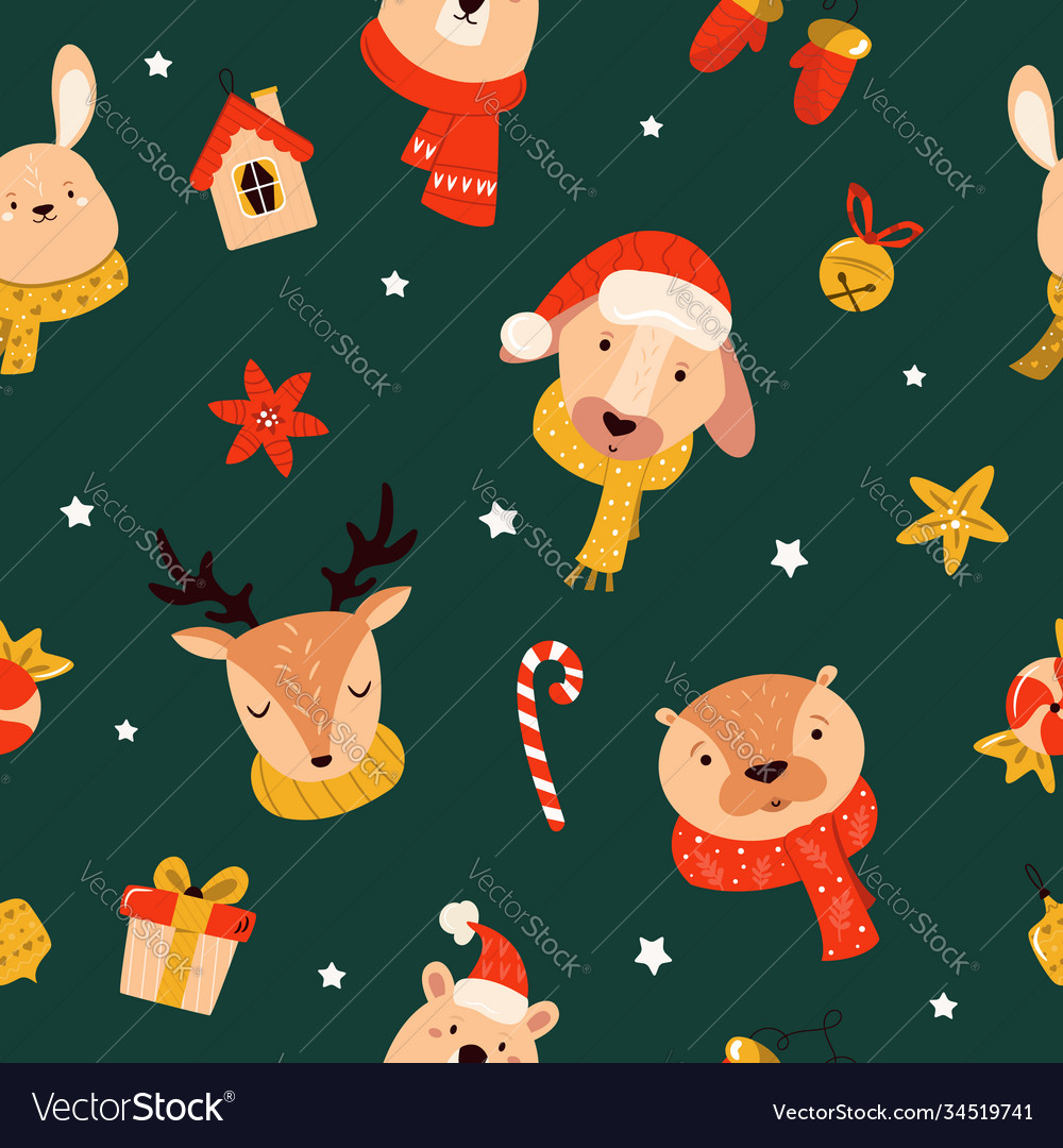 Christmas seamless pattern with cute animals