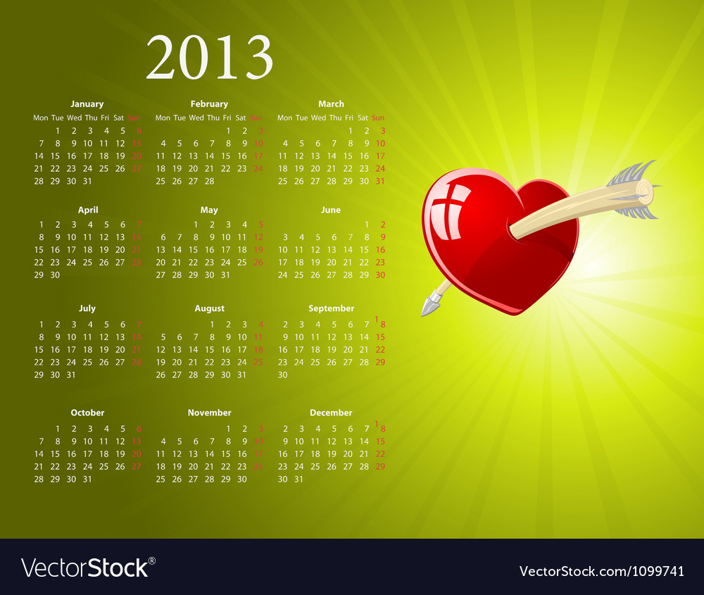 European 2013 calendar