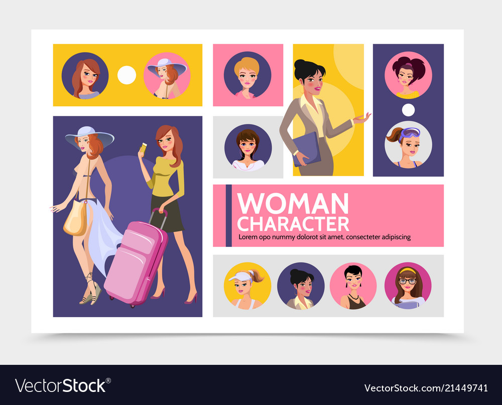 Flat woman characters avatars infographic template