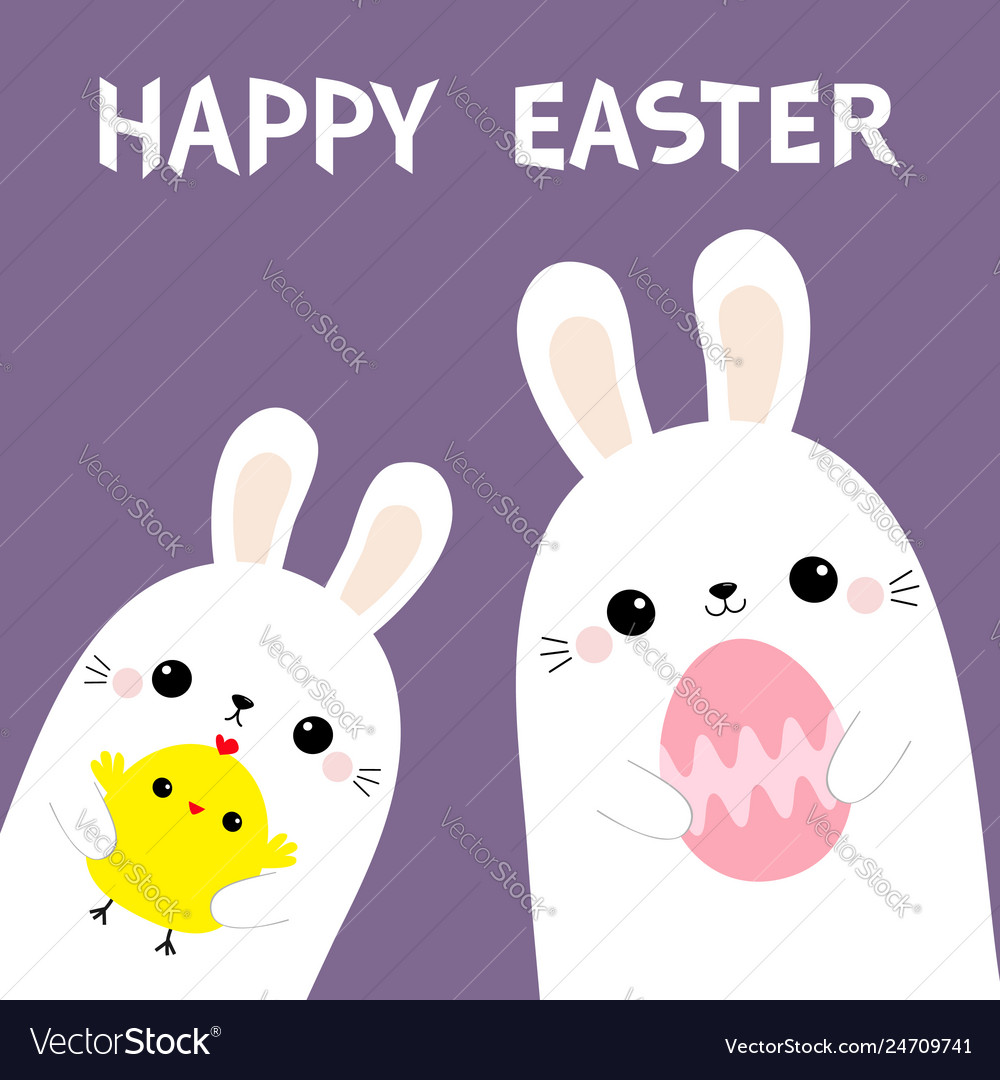 Happy easter two rabbit bunny friends holding