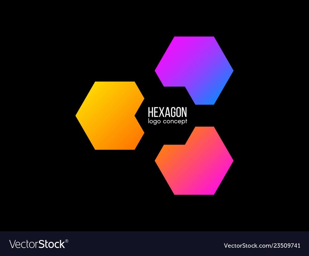 Hexagon logo design gradient cube logotype