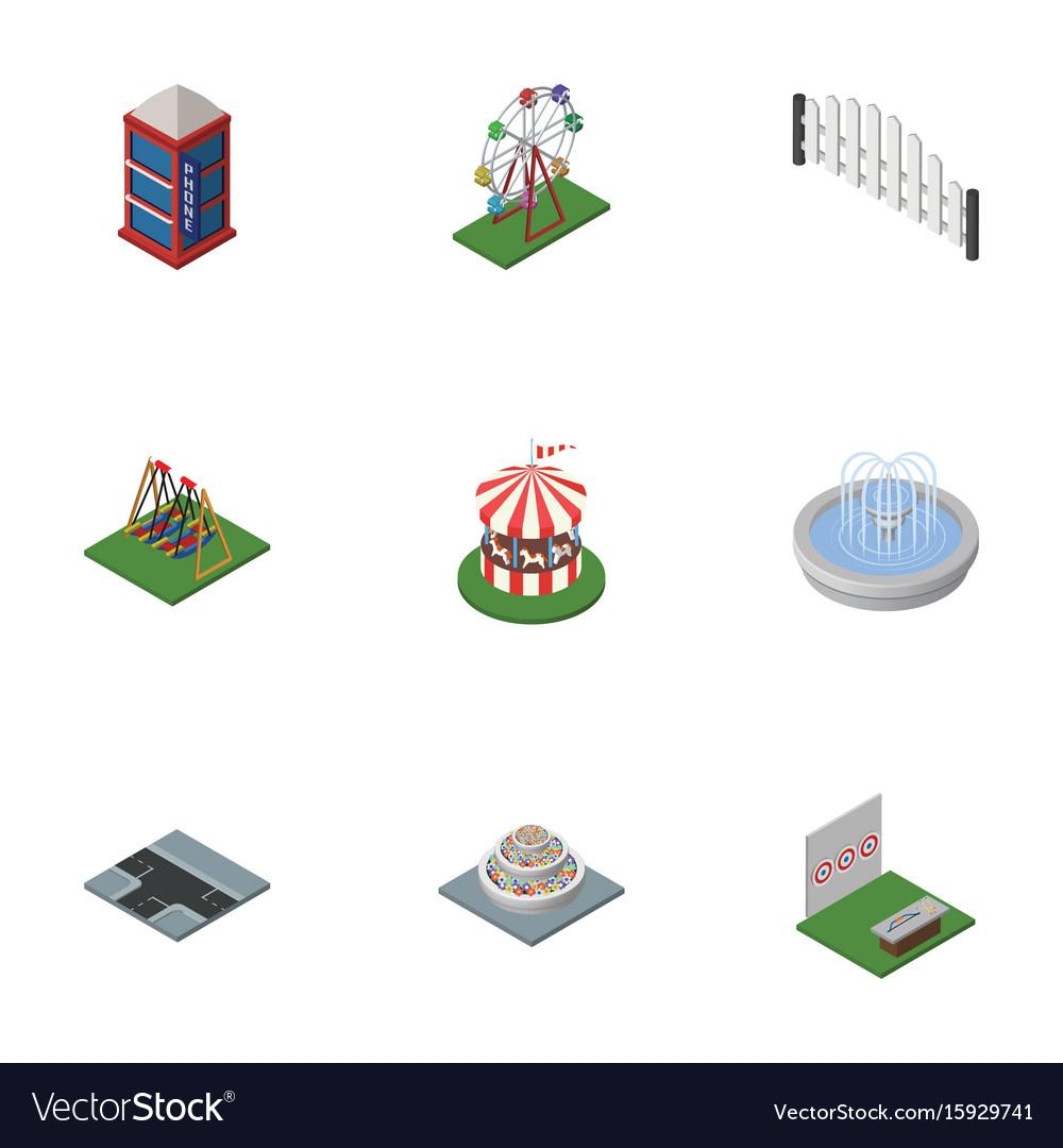 Isometric urban set of plants barricade vector image