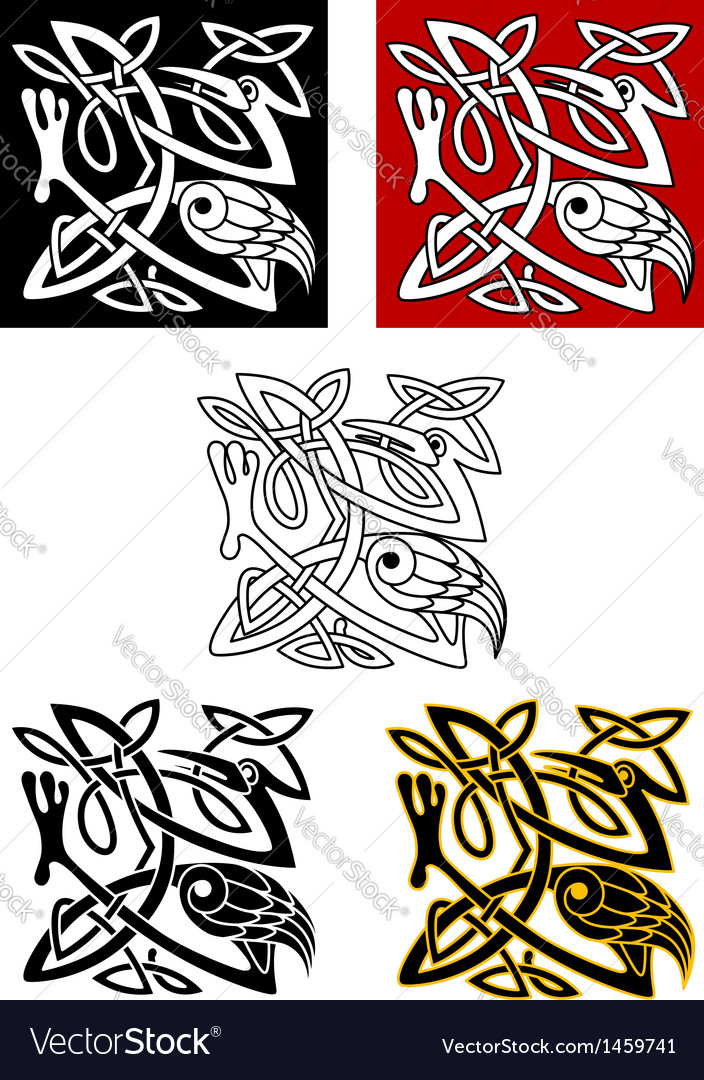 Ornamental birds in celtic style vector image