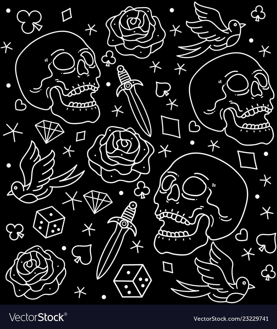 Pattern tattoos old school