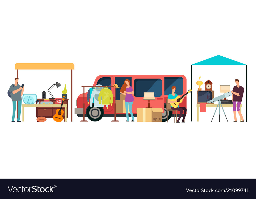 People selling shopping second hand clothes Vector Image