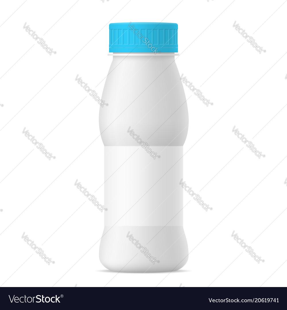 Realistic yogurt bottle with blue cap