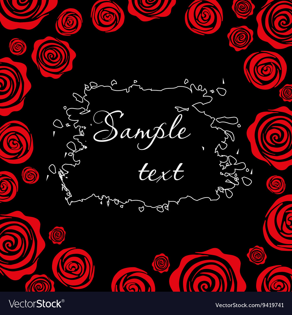 Red roses on a black background Template for