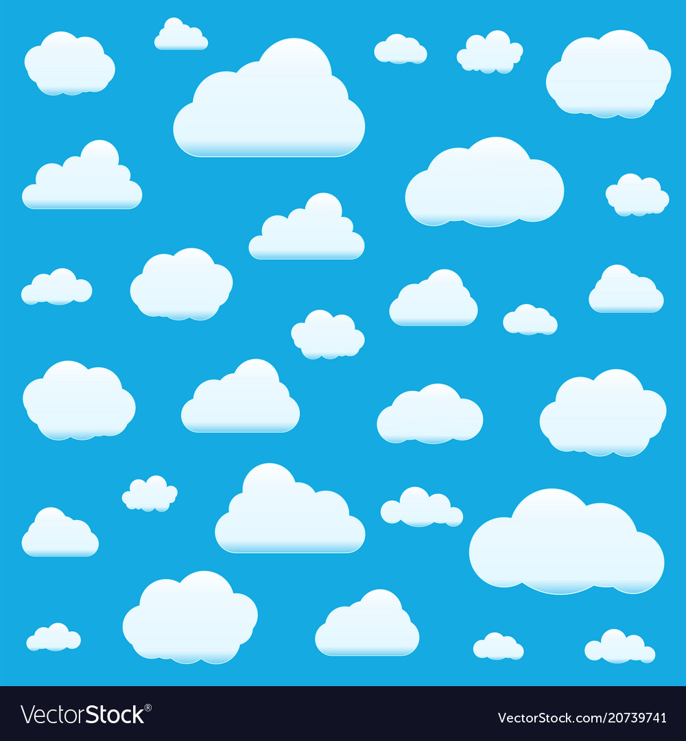 Set of clouds isolated on sky background seamless