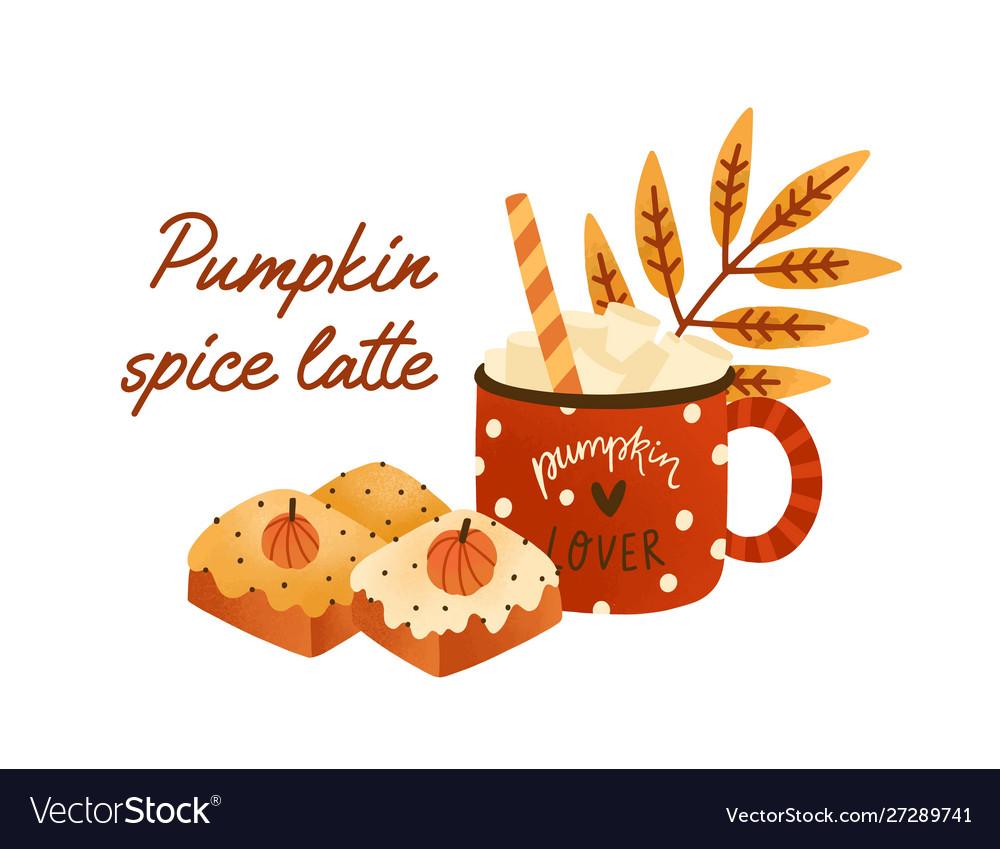 Tasty pumpkin spice latte in cute red cup
