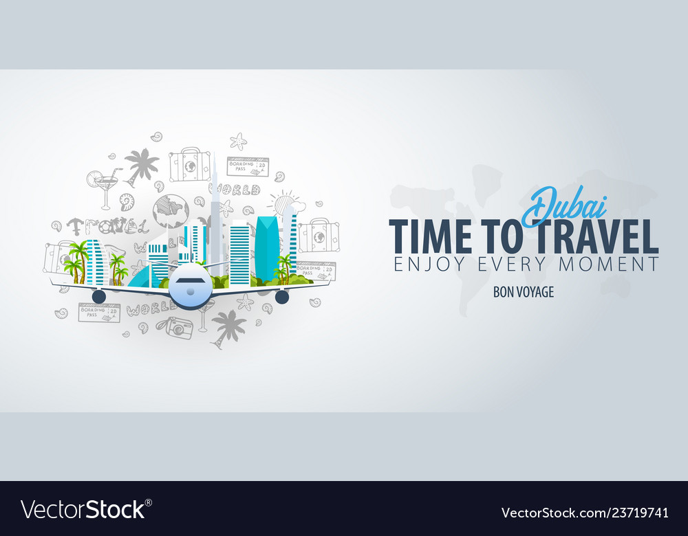 Travel to dubai uae time to travel banner with